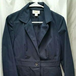 Talbots Navy Cotton Sateen Jacket Blazer Size 2